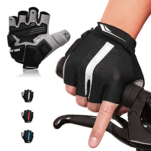 Nicewin 6mm SBR Padded Motorcycle Mountain Biking Gloves for Men Women Youth, MTB Glove with Shock-Absorbing Pad, Breathable Mesh for Outdoor Sports Road Cycling Silver XL