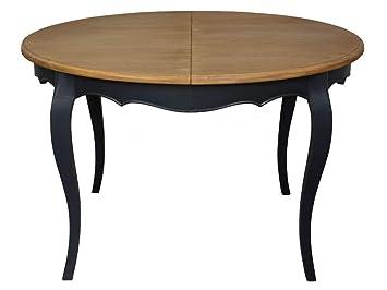 Delamaison Table Salle à Manger Extensible Plateau Bois Massif Gris ...