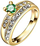 TEMEGO 18k Yellow Gold Cubic Zirconia Promise Engagement Wedding Band Rings Set,Size 7
