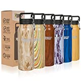 Healthy Human Wood Collection Stainless Steel Vacuum Insulated Water Bottle   Keeps Cold 24 Hours, Hot 12 Hours   Double Walled Water Bottle   21 oz Willow Oak