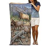 raikay Bath Towel Deer Elk Painting Patterned Soft Beach Towel 31''x 51'' Towel With Unique Design