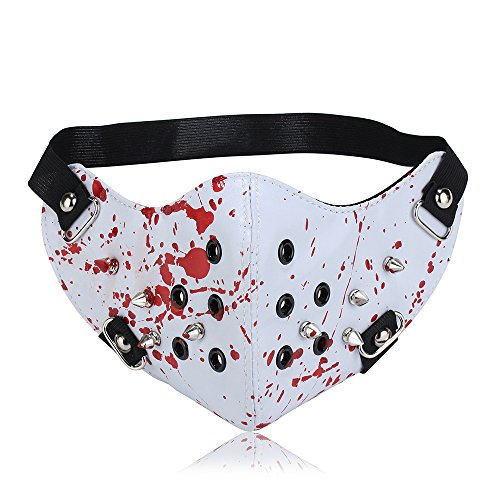 Yes I am PU Leather Rivet Half Face Punk Sports Wind Protective Motorcycle Anti-Dust Cosplay Mask (white red)