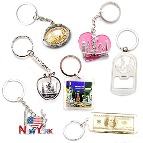 New York NYC NY Keychain Metal Key Ring Bundle Souvenir Gift Set 1 - Statue of Liberty,Empire State Building & More (Type A) (New York Keychain Souvenirs)