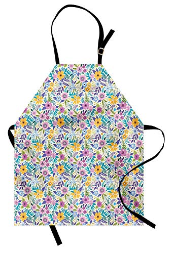 Miss Sweetheart Botanical Apron, Vibrant Plants Anemone Flowers Leafage Poppy Delicate Spring Herbs Garden Pattern, Funny Kitchen Aprons Men Women Kids High Waist Apron, Multicolor