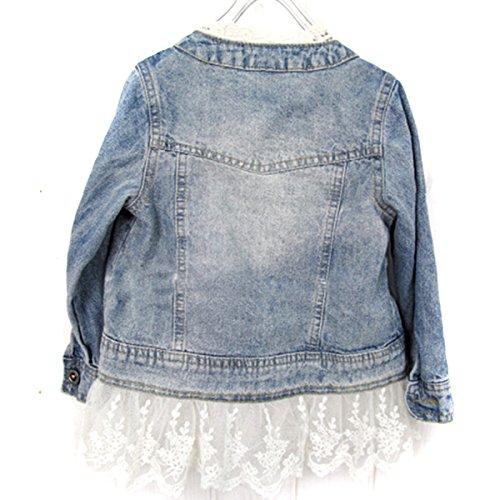 Girls Kids Lace Cowboy Jacket Denim Top Button Costume Outfits Jean Coat 110CM SODIAL R