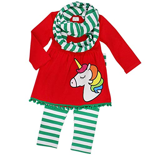 So Sydney Toddler Girls 3 Pc Winter Christmas Holiday Ruffle Tunic Outfit, Scarf (L (5), Unicorn Green Stripe) -