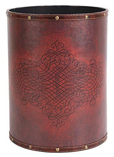 Vintiquewise(TM) Faux Leather Antique Design Waste Bin