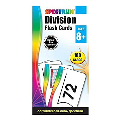 Spectrum - Division Flash Cards - 100 Arithmetic Cards of Division Facts and Place Values with Bonus Game Card for 3rd to 5th Grade Math, Ages 8+: Spectrum: Office Products
