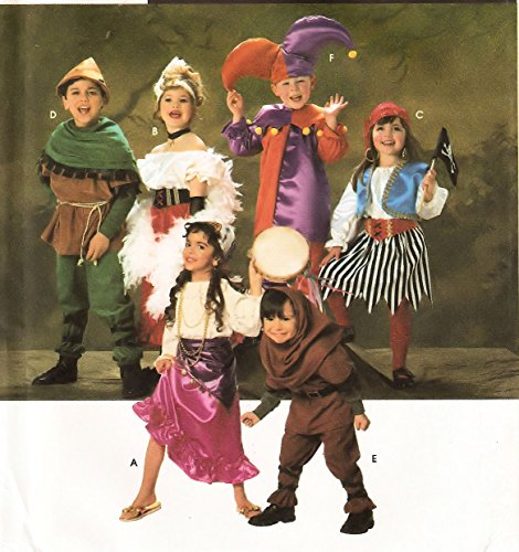 [Simplicity vintage sewing pattern 7294 Child's costumes: Robin Hood, Can-can girl, jester, pirate, Gypsy, hunchback - Size] (Gypsy Costumes Girl)