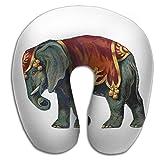 Lesi Yes U-Shape Neck Pillow Memory Foam Comfortable India Treasure Elephant Indoor Outdoor Travel Airplane Car Office School