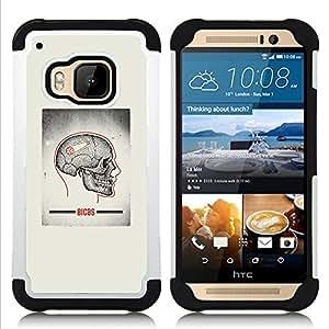 BullDog Case - FOR/HTC ONE M9 / - / SKULL GREY ANATOMY BRAIN MEDICAL /- H??brido Heavy Duty caja del tel??fono protector din??mico - silicona suave