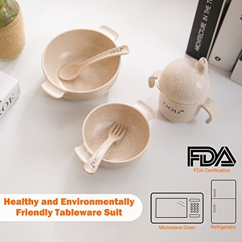 Baby Feeding Bowls - Wheat Fiber Ultimate Baby Feeding Set Baby Bowls Fork Spoon and Cup Perfect To Go Storage FDA Approved BPA Free CPC Certified by OOU (Image #3)