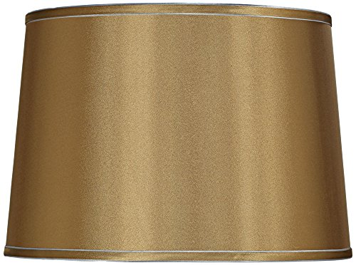 Sydnee Gold with Silver Trim Drum Shade 14x16x11 (Gold Trimmed Satin Collection)