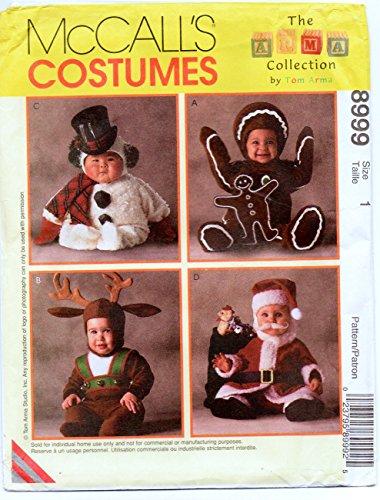 McCalls 8999 Snowman Reindeer Santa Gingerbread Man Toddler Costume Sewing Pattern Toddler Size 1 ()