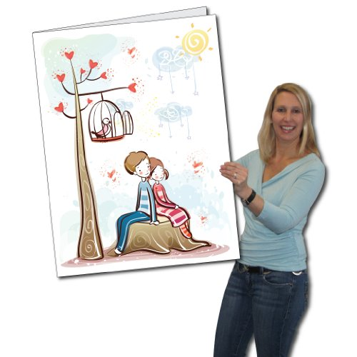 2' x 3' Giant Valentine's Day Card - Couple on Stump - Envelope Included