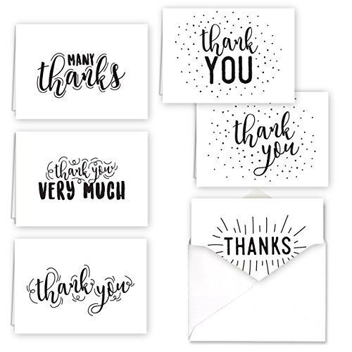 Doodling Thank You Folded Assortment Card Pack - Set of 36 Cards, 6 Designs - 6 Cards per Design, 4 7/8'' x 3 1/2''. Blank Inside. Made in The USA. Blank White envelopes Included