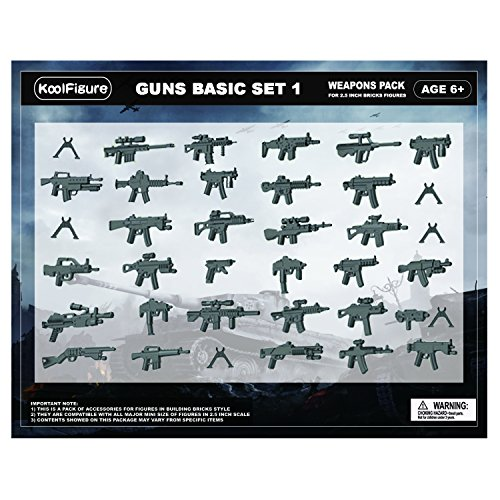 koolfigure Custom World War 2 Weapons Set for Military Minifigures, Building Blocks Figures Accessories, Guns for Minifigs