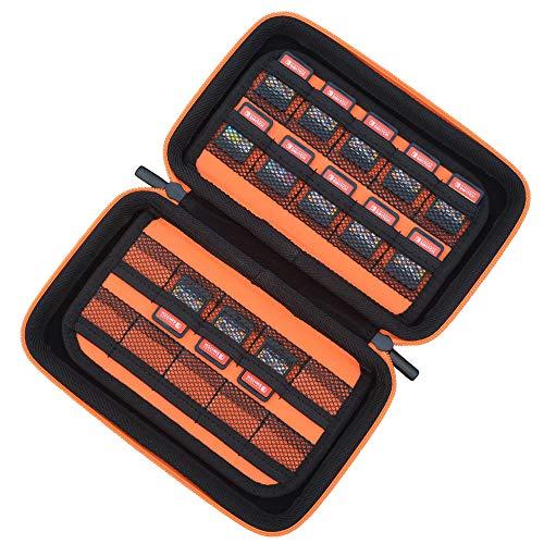 Game Card Storage Holder Case for Nintendo Switch Cartridges - Holds 40 Games - Black/Orange