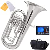 Mendini MEP-N Nickel Plated B Flat Euphonium with Stainless Steel Pistons