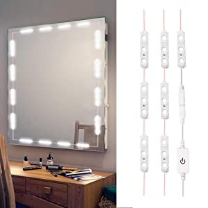 XYOP LED Vanity Mirror Lights Kit, 3M/10Ft Ultra Bright White LED Lights Strip Dimmable Makeup Mirror Lights Waterproof LED Module Lights, 6000K 1200LM,Mirror Not Included