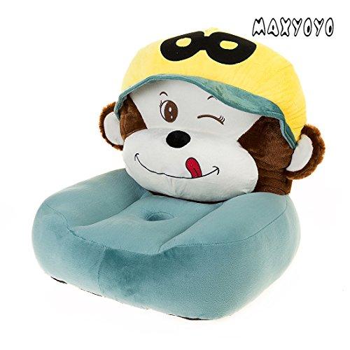 MAXYOYO Cute Monkey PP Cotton Stuffed Plush Toy Bean Bag Chair,Cartoon Monkey Velvet Sofa Seat,Soft Children Plush Chairs (monkey 1)