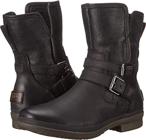 UGG Women's Simmens Leather Rain Boot, Black Leather - 5 B(M) US