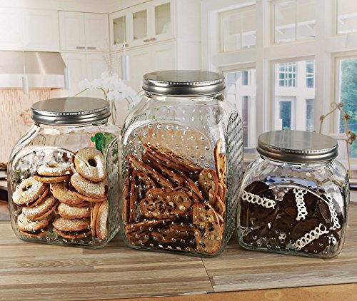 Circleware 68210 Hobnail Glass Canister with Metal Lid Set of 3 Home Kitchen Glassware Food Preserving Storage Container for Cookies, Coffee, Sugar, Tea, Spices, Cereal, 210 oz, 161 oz, 115 oz, Clear