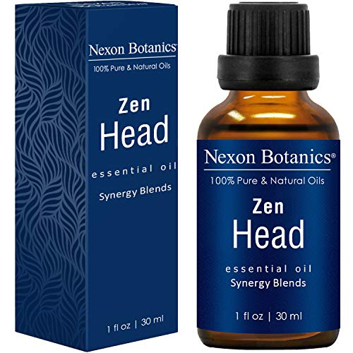 NEXON BOTANICS Zen Head Essential Oil Blend 30ml - Best Natural Ease for Headache and Migraine Relief - Great for Diffuser and Aromatherapy - Includes Clove, Cinnamon, Orange and Nutmeg Oils