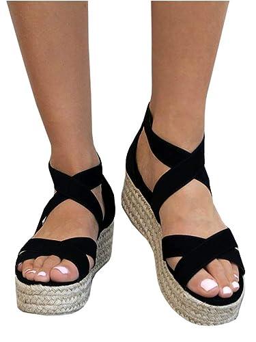 LAICIGO Women s Open Toe Strappy Platform Casual Espadrille Sandals Shoes 91869fb409c2