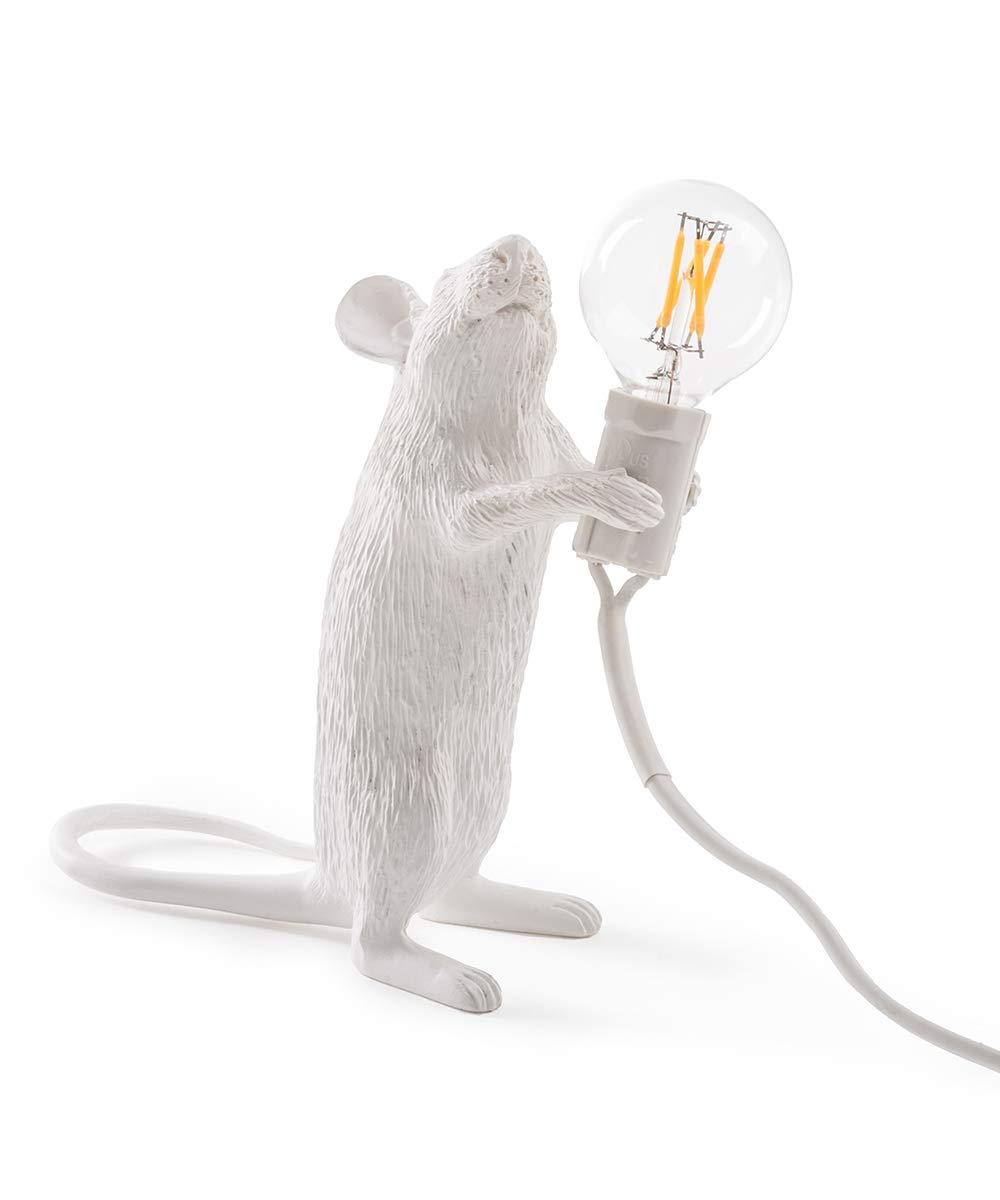 Seletti Mouse Lamp-Stehend, Harz, Weiß, 14,5 x 6,2 x 8,1 cm