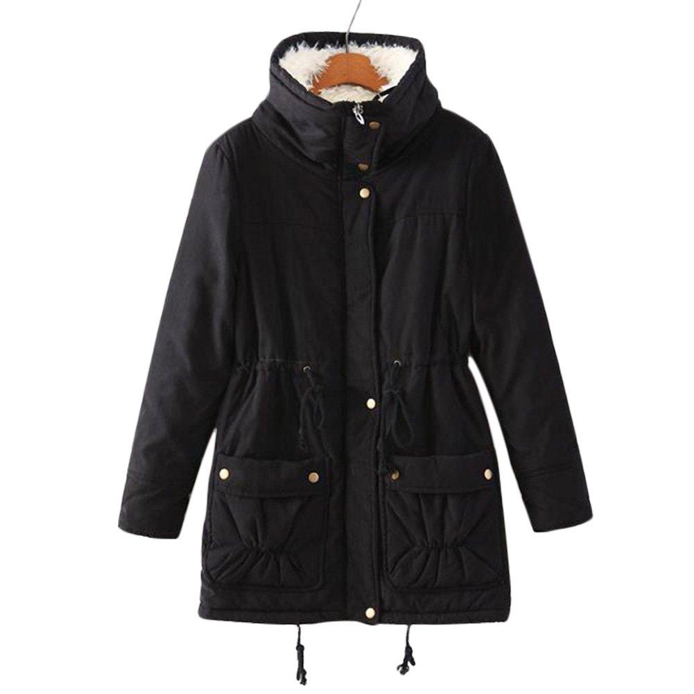 Aro Lora Women's Winter Warm Faux Lamb Wool Coat Parka Cotton Outwear Jacket (XXXL, Black) by Aro Lora