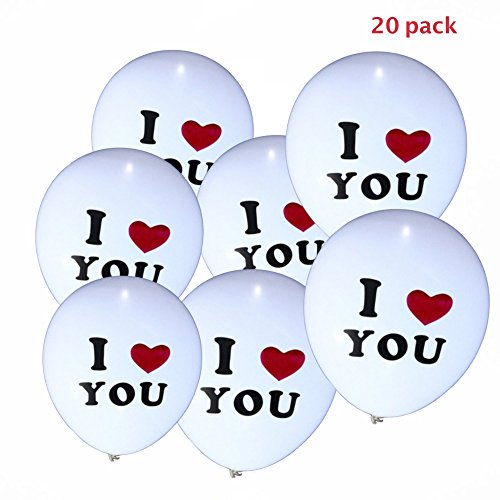 Party Tonight 20 Pk Balloons White Colors I Love You : LED Balloons.Great for Anniversary gift,Birthday or Moth day decoration or any - For Shipping How Package To A Hat