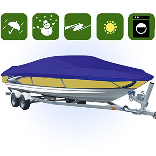 14-16 ft Waterproof Trailer Fishing Ski Boat Cover V-Hull YBT1N