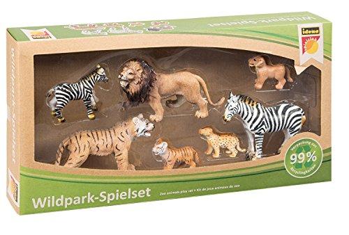 Idena 40101 - Spielset Wildpark mit 7 Tieren, inklusive App Inhalte für iPhone und Android