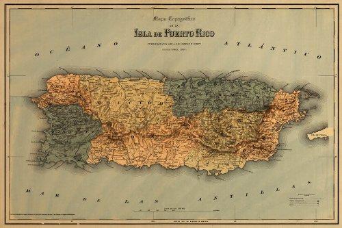 """Mapa topografico de la isla de Puerto Rico circa 1886 - measures 24"""" high x 36"""" wide (610 mm high x 915 mm wide)"""