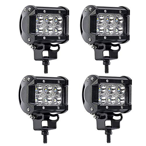 TURBOSII 4Pcs 4Inch Spot Beam 18W Led Work Light Bar Pods Cube Driving Fog Lights For Ford Jeep Toyota Polaris RZR Ranger Can Am Boat Offroad 4wd Truck Pickup SUV Van ATV UTV Tractor Lamp 12-24V ()