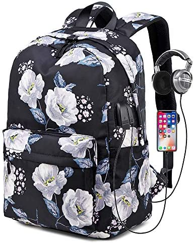 My Daily Anchor Flower Leaves Backpack 14 Inch Laptop Daypack Bookbag for Travel College School