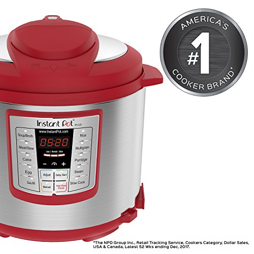 Instant Pot Lux 6 Qt Red 6-in-1 Muti-Use Programmable Pressure Cooker, Slow Cooker, Rice Cooker, Sauté, Steamer, and Warmer by Instant Pot (Image #1)