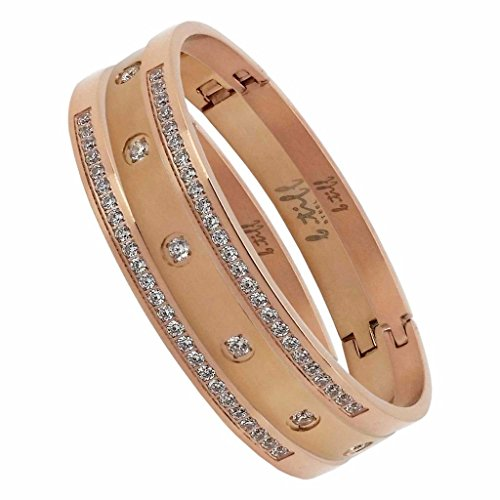 B.Tiff BTiff Brighter than Diamond Anodized Titanium Pave 3 Bangle Bracelets Triple Stack, Black, Gold, Silver, Rose Gold, Small, Medium, Large (Rose Gold, Size Large)