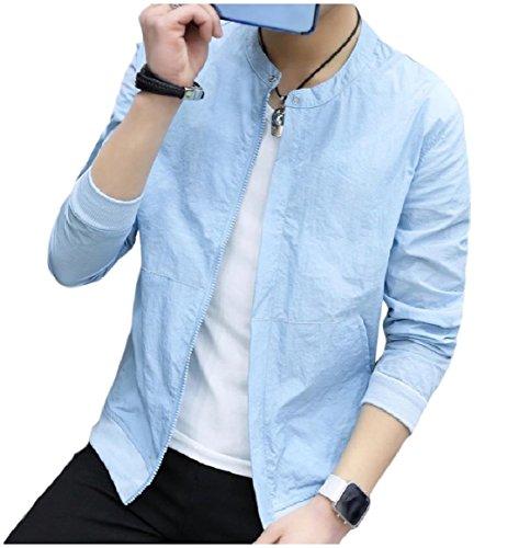 Uomini Collare Solido Giacca Colore Solare Sottile Blu Alzarsi Cielo Di Outwear Protezione Zip Rkbaoye qrpqwfg