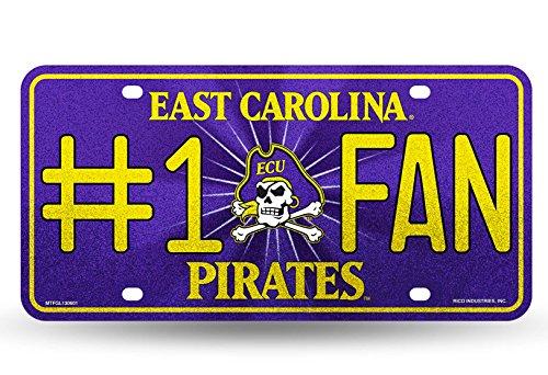 Rico NCAA East Carolina Pirates Bling #1 Fan Metal Auto Tag Plate, 12 x 6-Inch, Silver