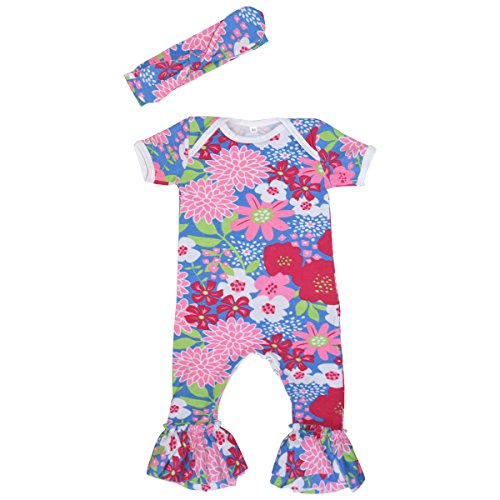Unique Baby-Girls Floral Bell Bottom Onesie with Matching Headband 6-12 months Blue