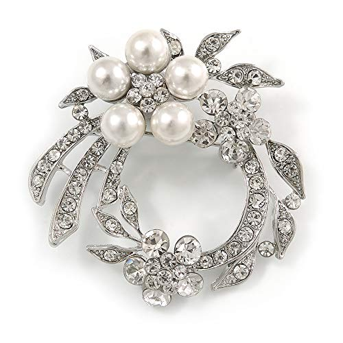 White Synthetic Pearl/ Clear Crystal Wreath Brooch In Rhodium Plating - 5cm Diameter