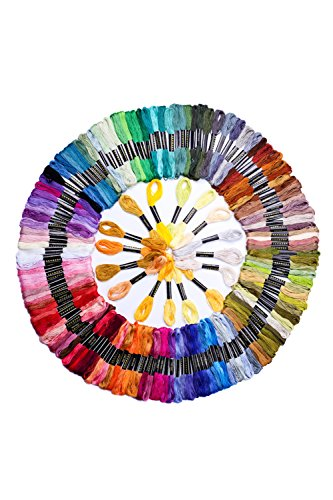 Ohlily 150 Skeins of Cross Stitch Threads 8M Cotton Embroidery Floss Sewing Threads Random -