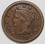 1848 Braided Hair Large Cent 1c Very Fine-Extremely Fine