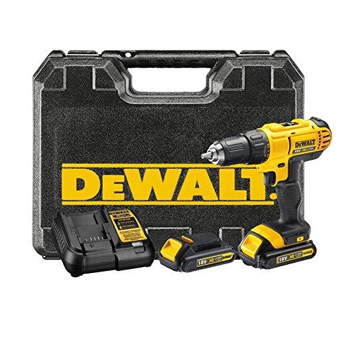 DeWalt DCD771C2-QW Taladro Atornillador XR 18V 13 mm 42Nm con 2 baterí as Li-Ion 1, 0 W, 18 V, Negro y Amarillo