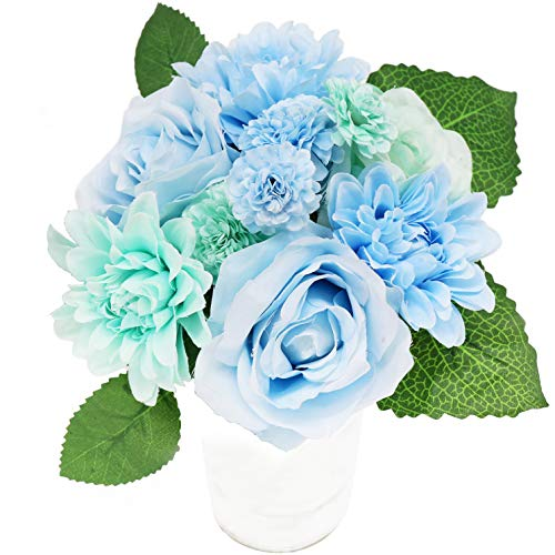 Fake Flowers, Artificial Flowers Plants Silk Plastic Hydrangea Peony Flower Arrangements Wedding Bouquets Decorations Floral Table Centerpieces for Home Kitchen Garden Party D閏or
