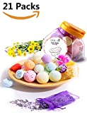 QQcute Bath Bombs Kit Family Spa Set,Pack of 21, 18 Lush Fizzies with Natural Essential Oils for Moisturizing Dry Skin, Including 3 Organic Flower Petals Bags,Add to Bubble Bath,Basket,Bath Beads