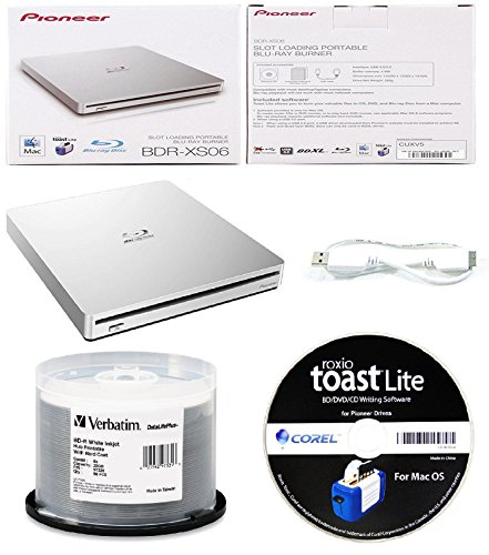 Pioneer 6x BDR-XS06 Slim Slot Portable External Blu-ray BDXL Burner, Roxio Toast Lite Software and USB Cable Bundle with 50pk BD-R Verbatim 25GB 6X DataLifePlus White Inkjet, Hub Printable by Produplicator