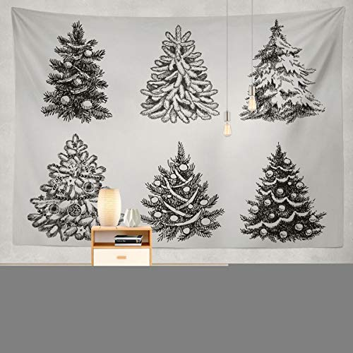 Soopat Tapestry Polyester Fabric Christmas Tree Holiday Sketch Silhouette Traditional Wall Hanging Tapestry Decorations Bedroom Living Room Dorm 80x60